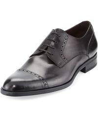 Ermenegildo Zegna - Leather Cap-toe Derby Shoe - Lyst