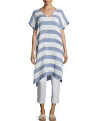 Eileen Fisher | Striped Organic Linen Gauze V-neck Tunic | Lyst