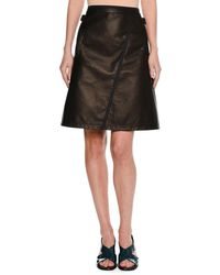 Tomas Maier - Leather A-line Miniskirt With Taping - Lyst