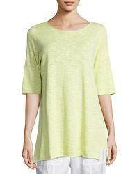 Eileen Fisher - Half-sleeve Linen-blend Tunic - Lyst