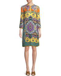 Etro - Split-neck Long-sleeve Paisley Cloque Harlem-print Tunic Dress - Lyst