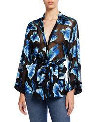e59c290779d62 Alice + Olivia - Rosario Leaf-printed Button-front Tie-waist Kimono Top