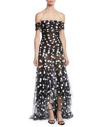 Oscar de la Renta - Off-the-shoulder Polka-dot Tulle Evening Gown - Lyst