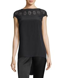 St. John - Embroidered Cutout Beaded Top - Lyst