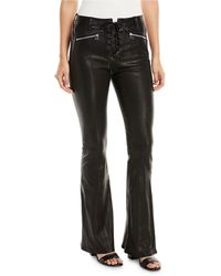 Rag & Bone - Bella Lace-up Leather Bell Bottom Pants - Lyst