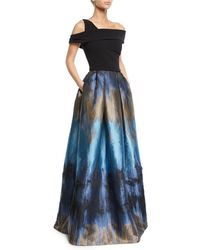 THEIA - Off-the-shoulder Ball Gown W/ Ombre Mikado Skirt & Pockets - Lyst