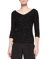 Carolina Herrera - V-neck Sequined Chevron Sweater - Lyst