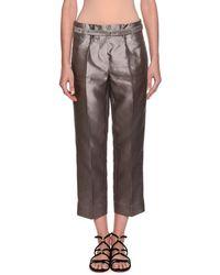 Giorgio Armani - Silk Shantung Wide-leg Cropped Pants - Lyst