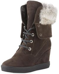 Aquatalia - Cordelia High Wedge Boots W/ Fur Trim - Lyst