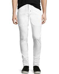 PRPS Skinny Stretch-denim Moto Jeans - White