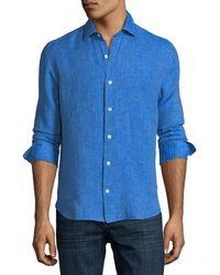 Culturata - Fray Edge Linen Sport Shirt - Lyst