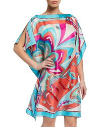 Emilio Pucci - Printed Silk Boat-neck Short Coverup Dress - Lyst