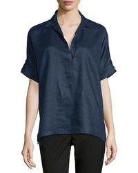 Go> By Go Silk - Oversized Short-sleeve Linen Tunic Petite - Lyst