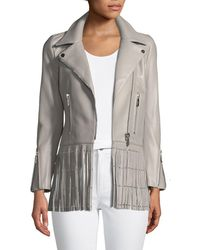 Nour Hammour - Saint Lambskin Leather Moto Jacket With Studded Fringe Hem - Lyst