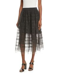 Brunello Cucinelli - A-line Tulle Skirt With Sequin Windowpane - Lyst