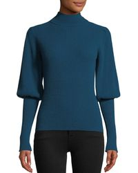 MILLY - Puff-sleeve Ribbed Cashmere Turtleneck Pullover Sweater - Lyst