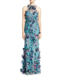 Marchesa notte - 3d Floral Halter Gown With Embroidery - Lyst