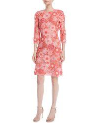 Naeem Khan - 3/4-sleeve Floral Lace-guipure Sheath Dress - Lyst