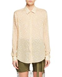 Saint Laurent - Long-sleeve Button-front Metallic-dot Silk Shirt - Lyst