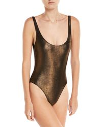 Marie France Van Damme - Rafia Metallic Scoop-back Classic One-piece Swimsuit - Lyst
