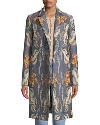 Brock Collection - Chandler Notched-collar Striped Floral-jacquard Coat - Lyst