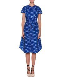 Marni - Short-sleeve Dot-print Tie-waist Cotton Poplin Dress - Lyst