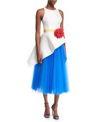 Carolina Herrera - Sleeveless Mikado & Tulle Asymmetrical Midi Dress With Flower Belt - Lyst