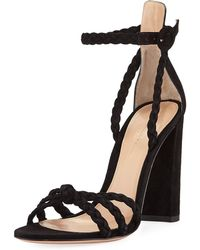 Gianvito Rossi - Braided Suede 105mm Sandal - Lyst