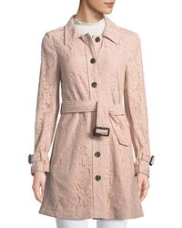 Cupcakes And Cashmere - Auretta Button-front Belted Lace Pea Coat - Lyst