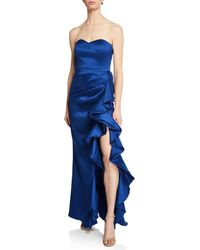 Badgley Mischka - Strapless Column Gown W/ Bustier Bodice & Side Ruffle - Lyst