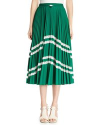 Valentino - Jersey Lycra® Plisse Midi Skirt With Chevron Lace - Lyst