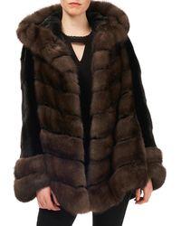 Gorski - Sable & Mink-fur Chevron Jacket W/ Belt - Lyst