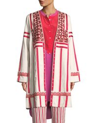 Figue - Liraz Striped Open-front Caban Jacket With Embroidered Yoke - Lyst