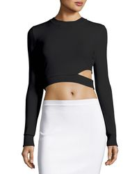 Thierry Mugler | Long-sleeve Cutout Cropped Sweater | Lyst