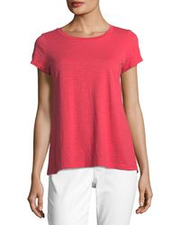 Eileen Fisher - Slubby Short-sleeve Cotton Tee - Lyst