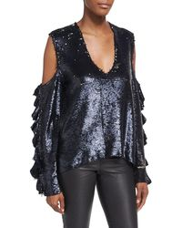 IRO - Waleast V-neck Cold-shoulders Ruffled Sleeves Sequin Top - Lyst