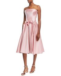 Zac Posen - Strapless Double-face Duchess Satin Tea-length Cocktail Dress - Lyst