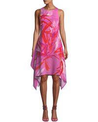 Josie Natori - Prism Sleeveless Abstract-print Dress W/ Handkerchief Hem - Lyst
