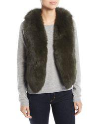 Adrienne Landau - Short Fur Vest W/ Cutout Back - Lyst