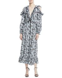 Robert Rodriguez - Orchid-print V-neck Silk Ruffled Maxi Dress - Lyst