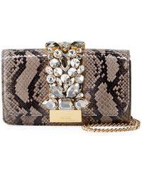 Gedebe - Cliky Mini Jewelled Snakeskin Clutch Bag - Lyst