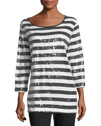 Joan Vass - Sequined Striped Tunic - Lyst