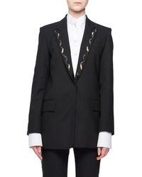 Victoria, Victoria Beckham - Hook-eye Closure Wool-blend Jacket W/ Beaded Collar - Lyst