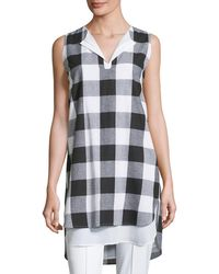 Misook Collection - Sleeveless Gingham Layered Shirt - Lyst