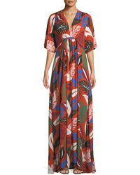 Rachel Pally - Willow Crepe Botanical Leaf-print Long Caftan Dress - Lyst