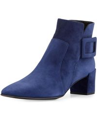 Roger Vivier - Polly Suede Buckle Booties - Lyst