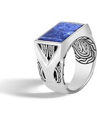 John Hardy - Men's Classic Chain Silver Signet Ring With Sodalite - Lyst