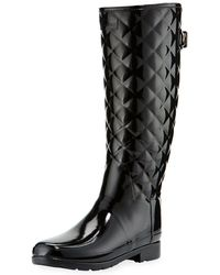 HUNTER - Tall Gloss Quilted Rubber Boot - Lyst