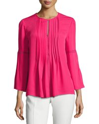 Elie Tahari - Orion Bell-sleeve Silk-georgette Blouse - Lyst