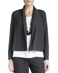 Eileen Fisher - Washable-stretch Crepe Short Jacket - Lyst